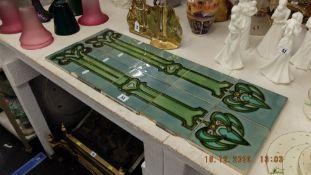 A qty of Art nouveau tiles