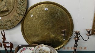 A large eastern brass tray
