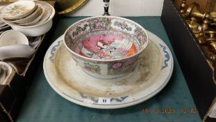 A large Chinese lplant base 44cms diameter and a Chinese bowl 20th century 25cms diamoeter