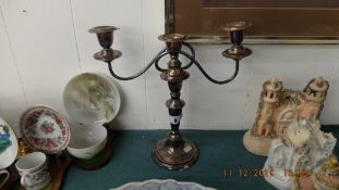 A silver plated candlebra