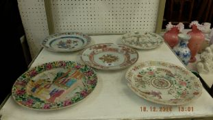Five 18th/19th century (possibly) Chinese plates,