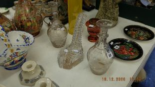 Pair of Victorian decanters plus other with no stoppers