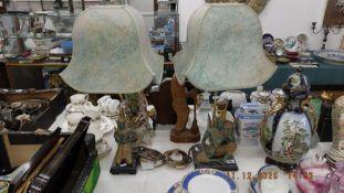 Two decorative Hindu figural lamps