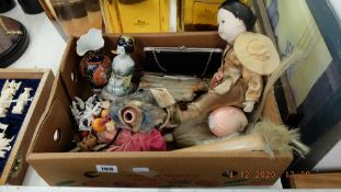 A qty of assorted Chinese dolls, fans, soap stone items etc.