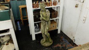 A stone garden statue