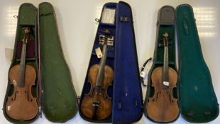 VIOLINS. Collection of 8 violins in various states of repair. 7 with cases.