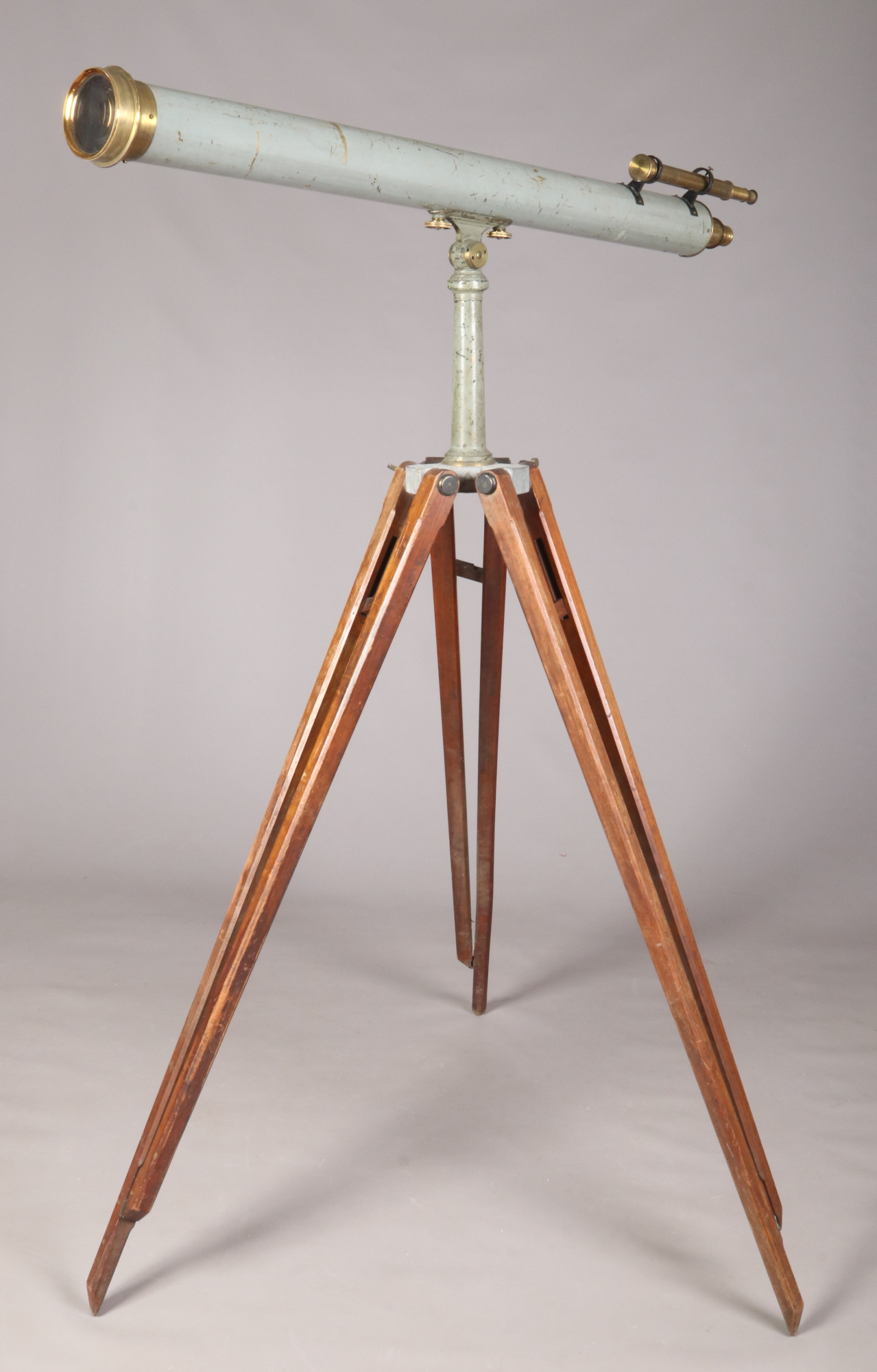 "Lot 428 - A 4"" astronomical telescope, makers James Lancaster & Son, Birmingham. With sighting scope and"