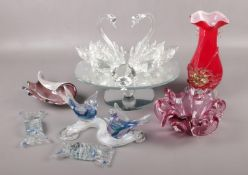 A collection of decorative glassware, to include Swarovski style swans on revolving stand, vases