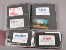 A box of American amateur/ ham radio QSL communication cards.