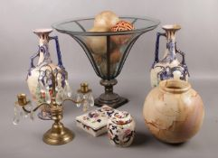 A mixed group to include large decorative glass and metal vase, Masons Mandalay, pair of pottery