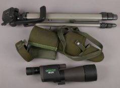 An Opticron HR.66 twitchers / bird watchers scope in soft case and with tripod.