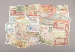 A collection of world bank notes, to include Nigeria, Brazil, Vietnam etc. (approximately 50).