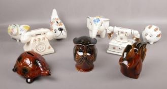 A collection of Arthur Wood ceramic's, Squirrel, Owl, Tortoise, elephant money boxes examples