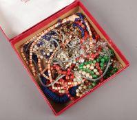 A box of costume jewellery beads.