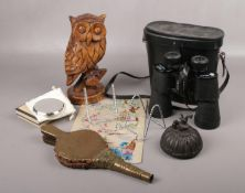 A mixed group, to include Swift binoculars, Chinese silk, iron ink well etc.