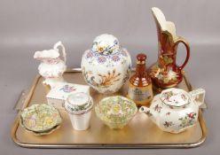 A tray of ceramics, to include Royal Winton, Crown Devon, 19th century cream jug etc.