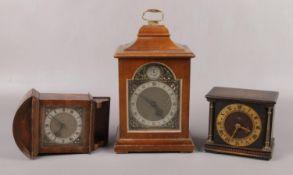 A Rotherhams miniature mahogany cased bracket clock, a Smiths miniature oak cased clock and a burr