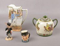 Royal Doulton Dickens ware, 'Cap n Cuttle' jug, 'Canterbury Pilgrims' twin handled jar and cover, '