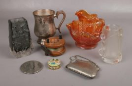 A group of collectables, to include Nachtmann glass, Whitefriars style vase, Indonesian bone pill