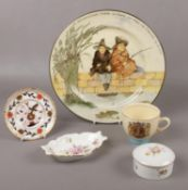 Royal Doulton 'The Gallant Fishers' plate, Royal Crown Derby ' Derby Posies' trinket, pin dishes, to