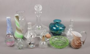 A collection of glassware, to include Mdina vase, paperweights, decanter, scent bottles etc.