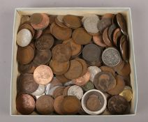 A box of British pre decimal coins, to include silver examples, 1807 half penny etc.