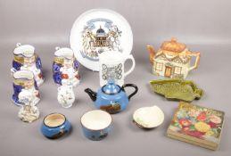 A group of ceramics, Denby commemorative plate, Poole Fish dish, Wedgwood mug, Coalport examples