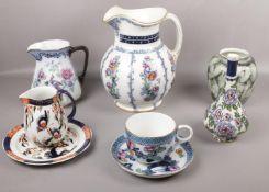 Eight Losol Ware ceramics, ' Pagoda' 'Papillon' 'Thurlow' patterns, jugs, vases, plates etc