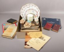 A box of miscellaneous, to include Spode, Royal Doulton, books etc.