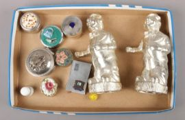 A box to include silverplate clown money boxes, pill boxes, matchbox holder etc.