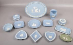 A collection of Wedgwood 'Jasperware', trinkets, pin dishes, vase examples