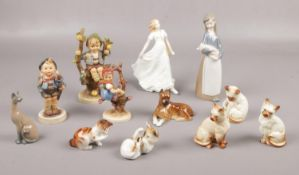 A collection of ceramics, Royal Doulton Friendship figure, Three Goebel figures examples