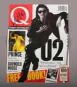 Rock memorabilia; A Q magazine cover, dated July 1992, autographed by Bono from U2.