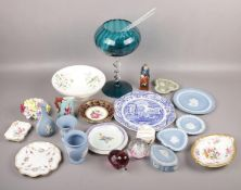 A large group lot of ceramics and glass to include Royal Crown Derby, Wedgwood jasperware, large