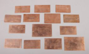 Fourteen early 20th century engraved copper printing plates. Business cards mainly for Dispensing