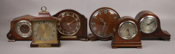 A collection of six small mantel clocks, to include Elliott, Smiths etc.