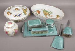 A mixed group lot to include chrome dressing table set, Royal Worchester Evesham pattern, etc.