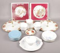 A collection mostly of Royal Albert dinnerwares Old country roses, Sorrento pattern examples etc.