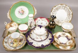A tray of ceramics to include Coalport plates, cup & saucers, etc
