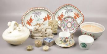 A mixed collection of Chinese decorative items, including a famille verte porcelain bowl enamelled