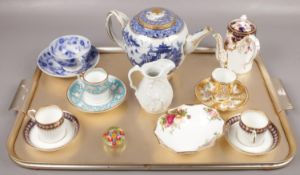 A tray lot of ceramics to include Royal Crown Derby chocolate pot, Chinese export blue & white