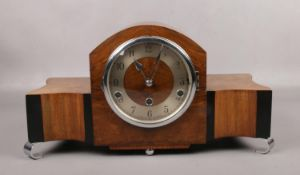 An Art Deco walnut cased Norland Clock Company Westminster chime mantel clock. No key.