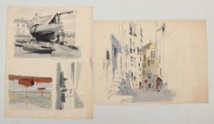 Harry Arthur Riley R.I. (1895-1966), a watercolour and pencil working sketch, street scene with
