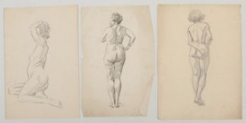 Harry Arthur Riley R.I. (1895-1966), three pencil sketches, studies of nude females. (Postage