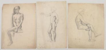 Harry Arthur Riley R.I. (1895-1966), three charcoal and pencil sketches of nude men. (Postage