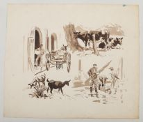 Harry Arthur Riley R.I. (1895-1966), a monochrome watercolour, studies of people and animals, signed