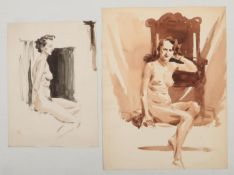 Harry Arthur Riley R.I. (1895-1966), two watercolour studies of seated nude females, one in