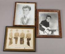 Three framed autographed photos, to include Danny and The Juniors, Duane Eddy and Bobby Rydell.