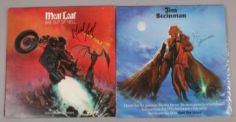Two autographed LP records, Meatloaf Bat Out Of Hell and Jim Steinman Bad For Good.