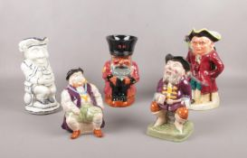 Five ceramic character jugs, Melba ware Henry the Eighth, Staffordshire Chelsea pensioner etc